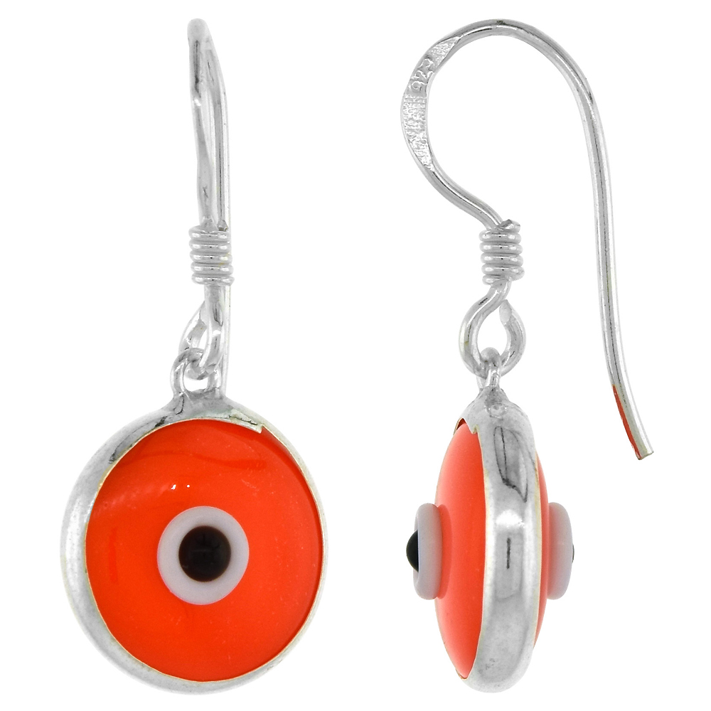 Sterling Silver Evil Eye Earrings Orange Color