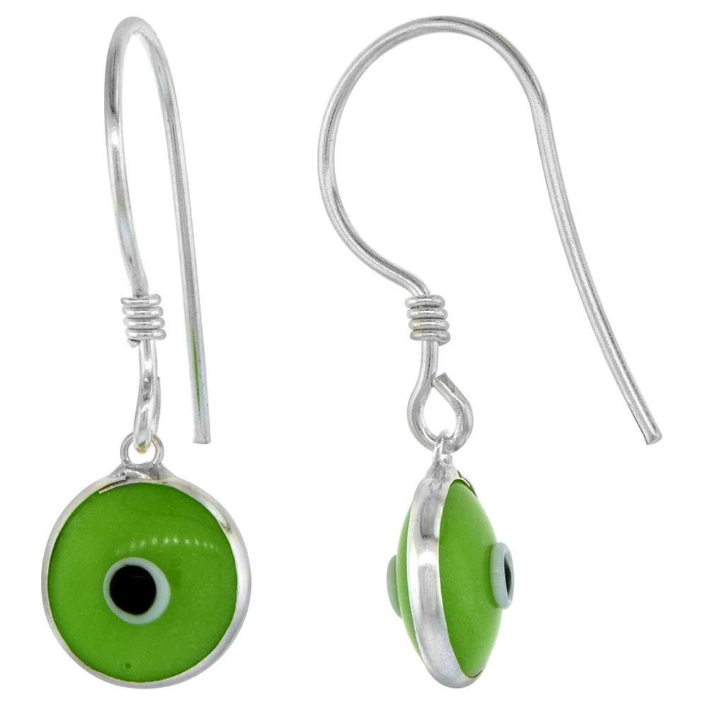 Sterling Silver Pistachio Green Color Evil Eye Earrings for Women and Girls 10mm Glass Eyes with Fish Hook