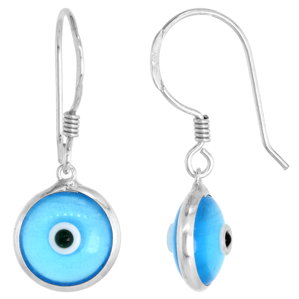 Sterling Silver Evil Eye Earrings Clear Sky Blue Color