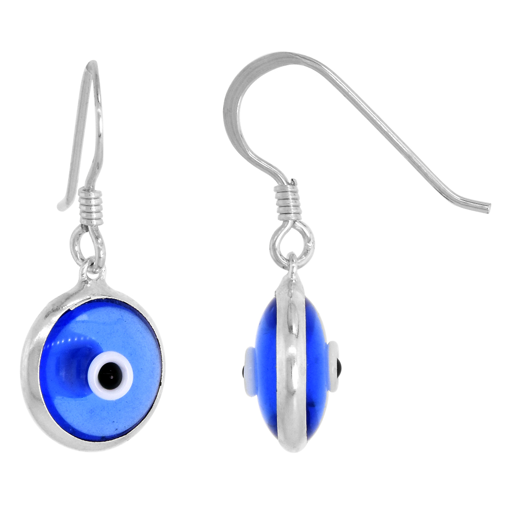 Sterling Silver Evil Eye Earrings Tanzanite Blue Color