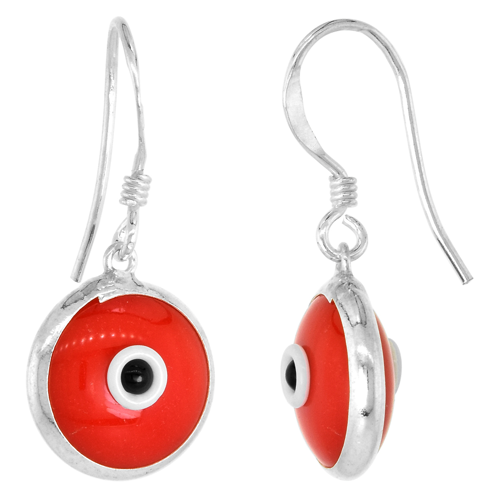 Sterling Silver Evil Eye Earrings Red Color