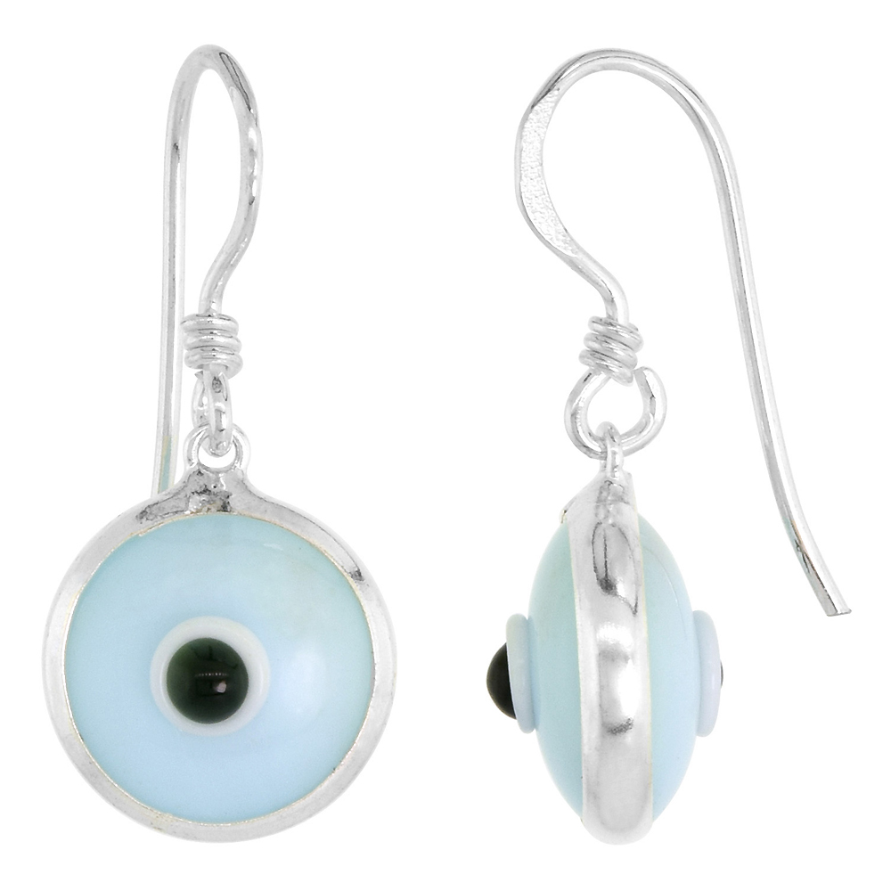 Sterling Silver Evil Eye Earrings Sky Blue Color