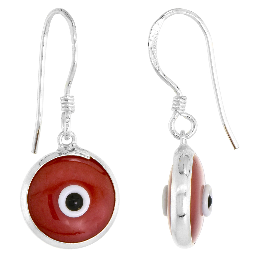Sterling Silver Evil Eye Earrings Burgundy Color