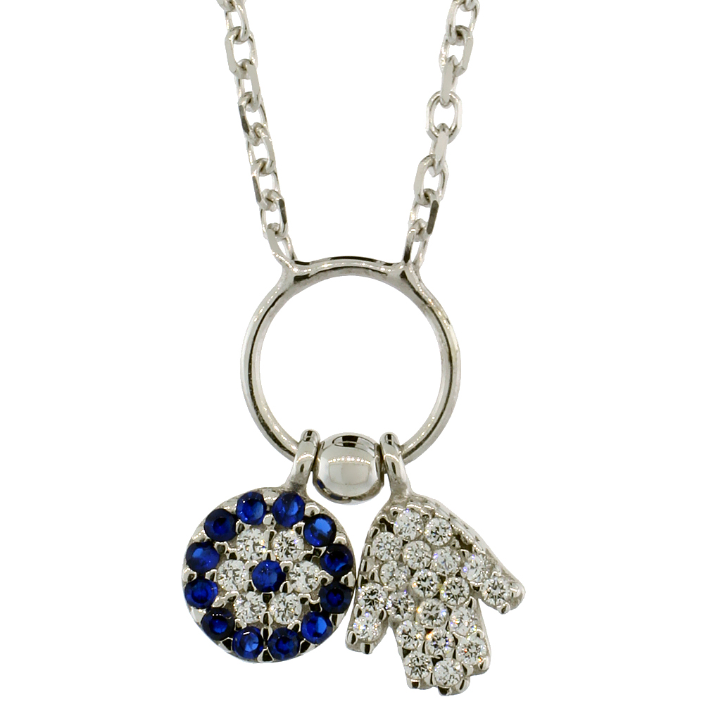 Sterling Silver Cubic Zirconia Evil Eye & Hamsa Necklace, 16 inch
