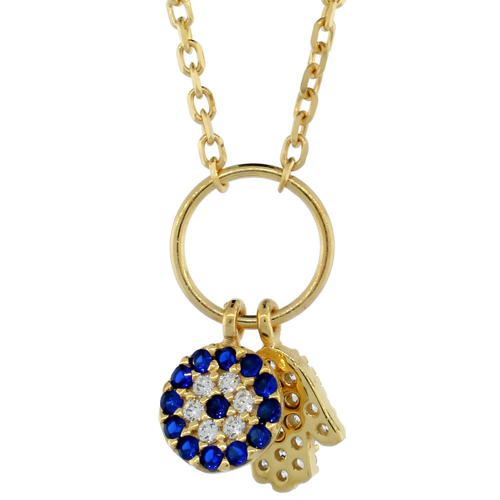 Sterling Silver Cubic Zirconia Evil Eye & Hamsa Charm Necklace Gold Plated 16 inch Necklace