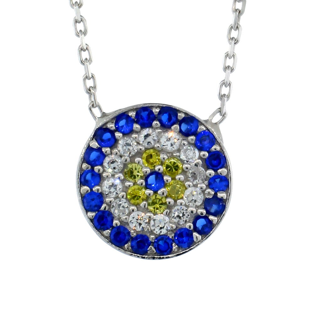 Sterling Silver Cubic Zirconia Evil Eye Necklace Round 1/2 inch (11 mm), 16 inch