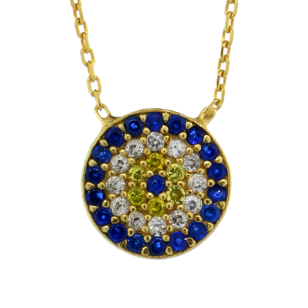 Sterling Silver Cubic Zirconia Evil Eye Necklace Gold Plated Round 1/2 inch (11 mm) 16 inch
