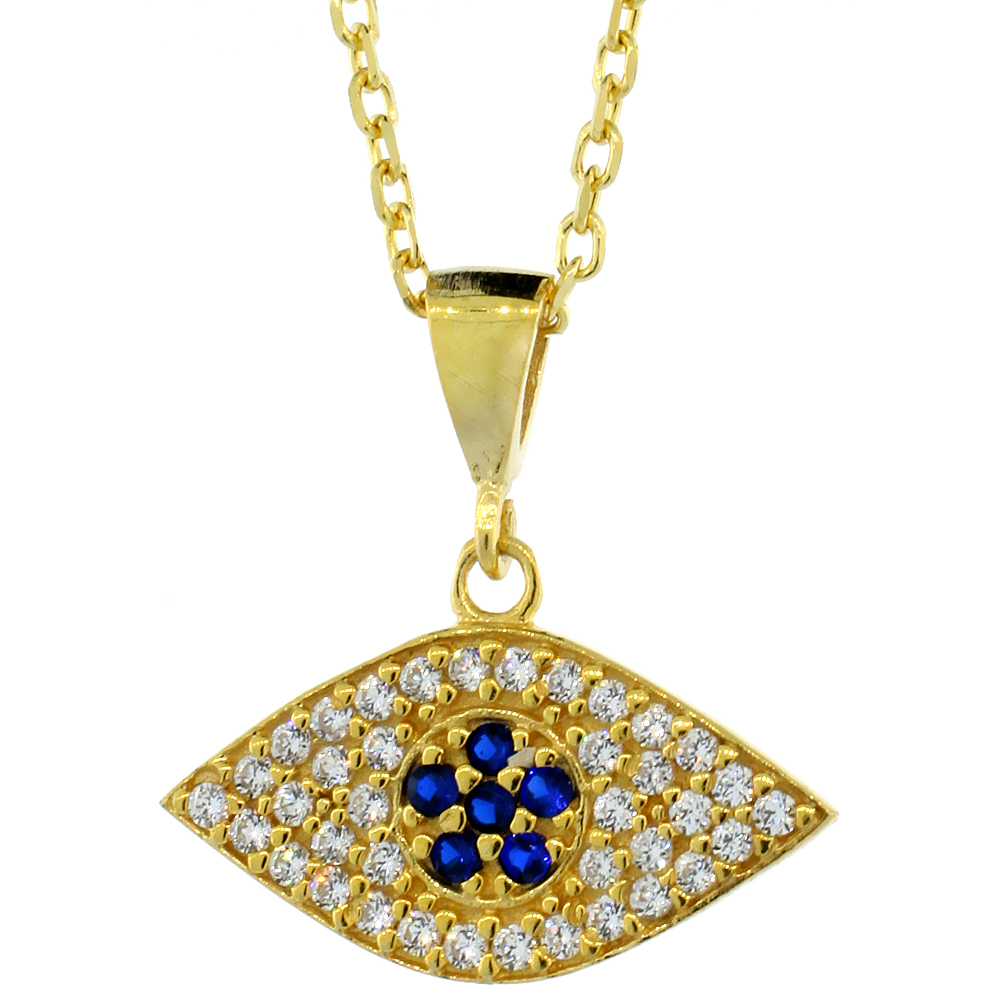 Sterling Silver Cubic Zirconia Evil Eye Necklace Gold Plated 17 inch Necklace 3/4 inch (20 mm)