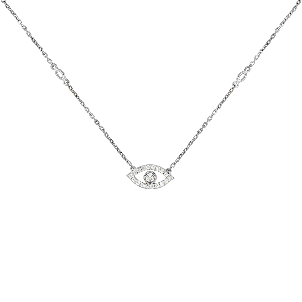 Sterling Silver Cubic Zirconia Evil Eye Necklace, 18 inches long + 1 in extension