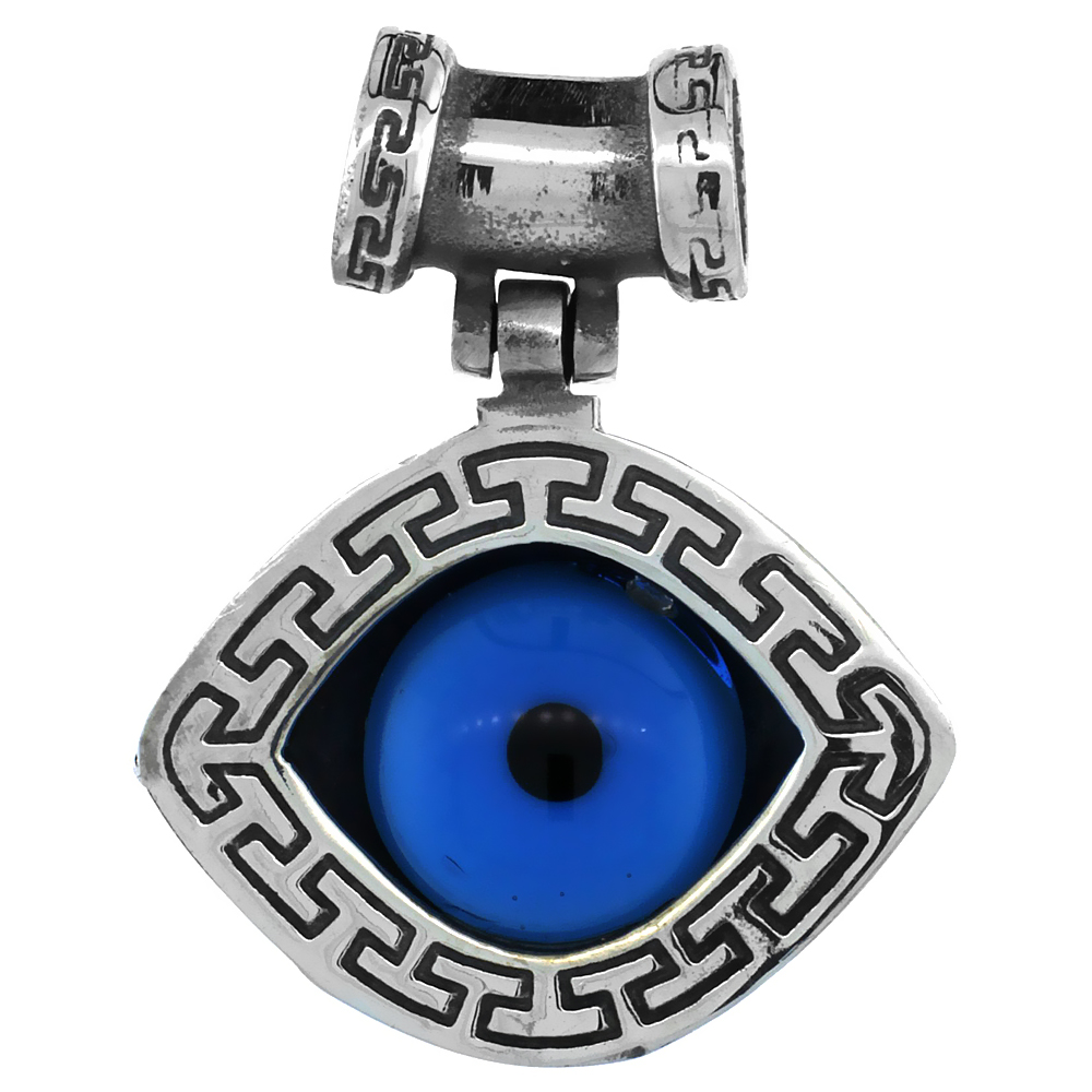 Sterling Silver Evil Eye Pendant Navy Blue Color Greek Key Pattern 1 inch