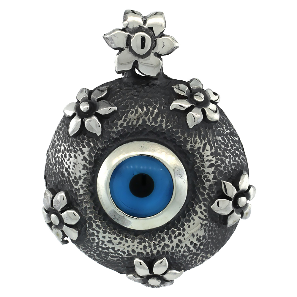 Sterling Silver Evil Eye Pendant Navy Blue Color Hammered Flower Motif 1 inch