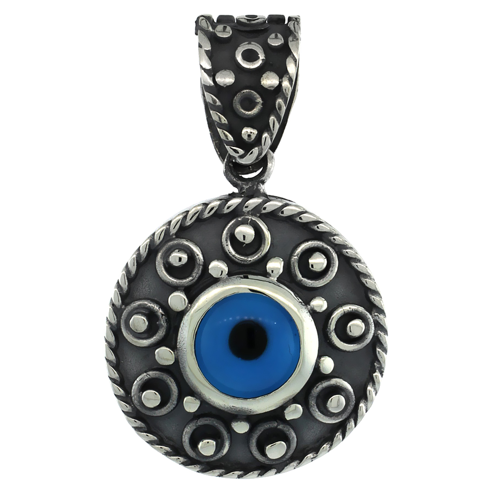 Sterling Silver Evil Eye Pendant Navy Blue Color Evil Eye Motif 7/8 inch