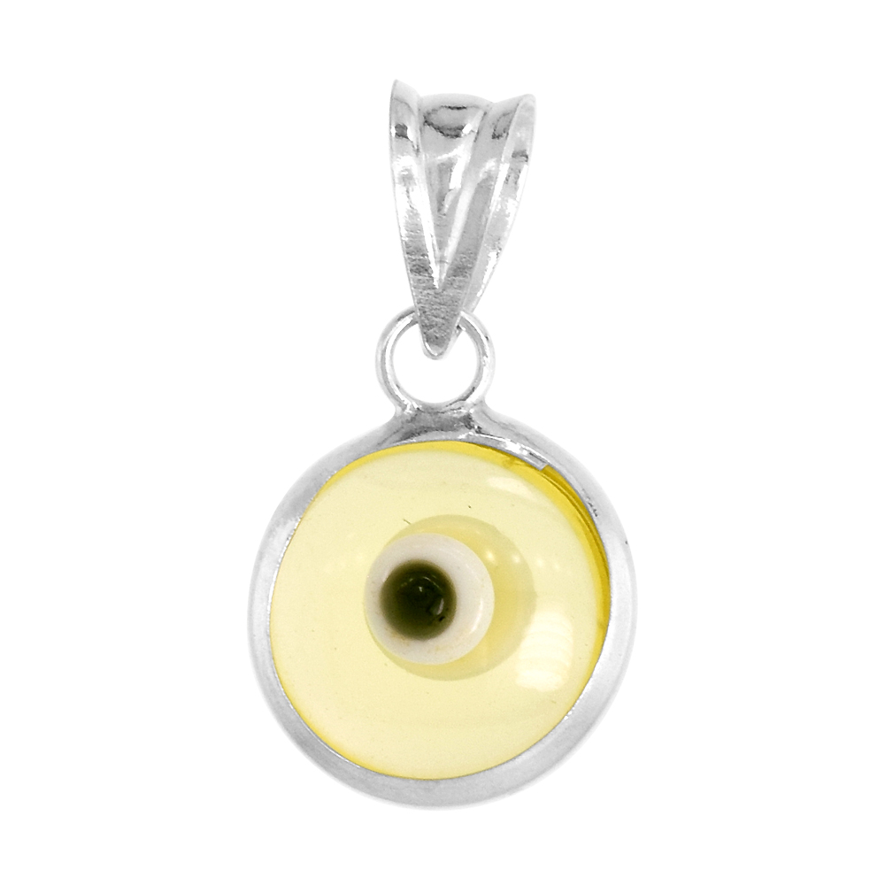 Sterling Silver Evil Eye Pendant Clear Light green Color