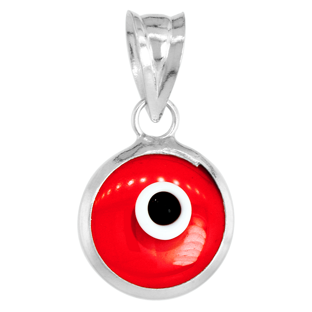 Sterling Silver Evil Eye Pendant Clear Ruby Red Color