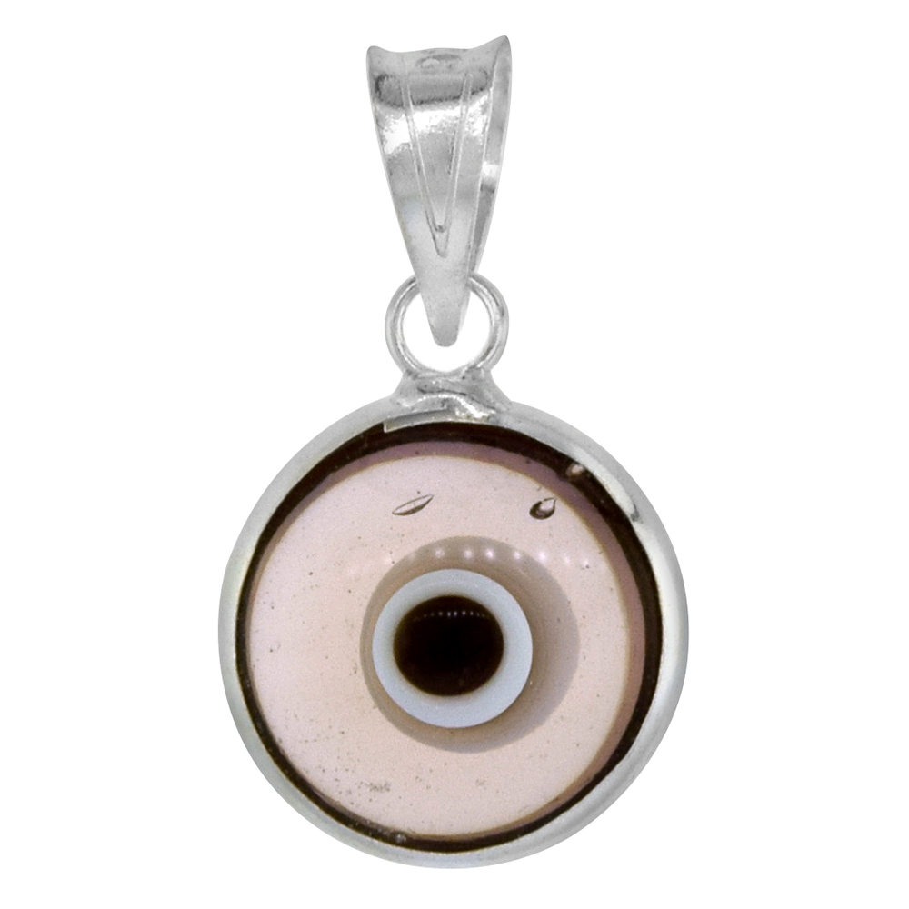Sterling Silver Evil Eye Pendant Clear Amethyst Purple Color