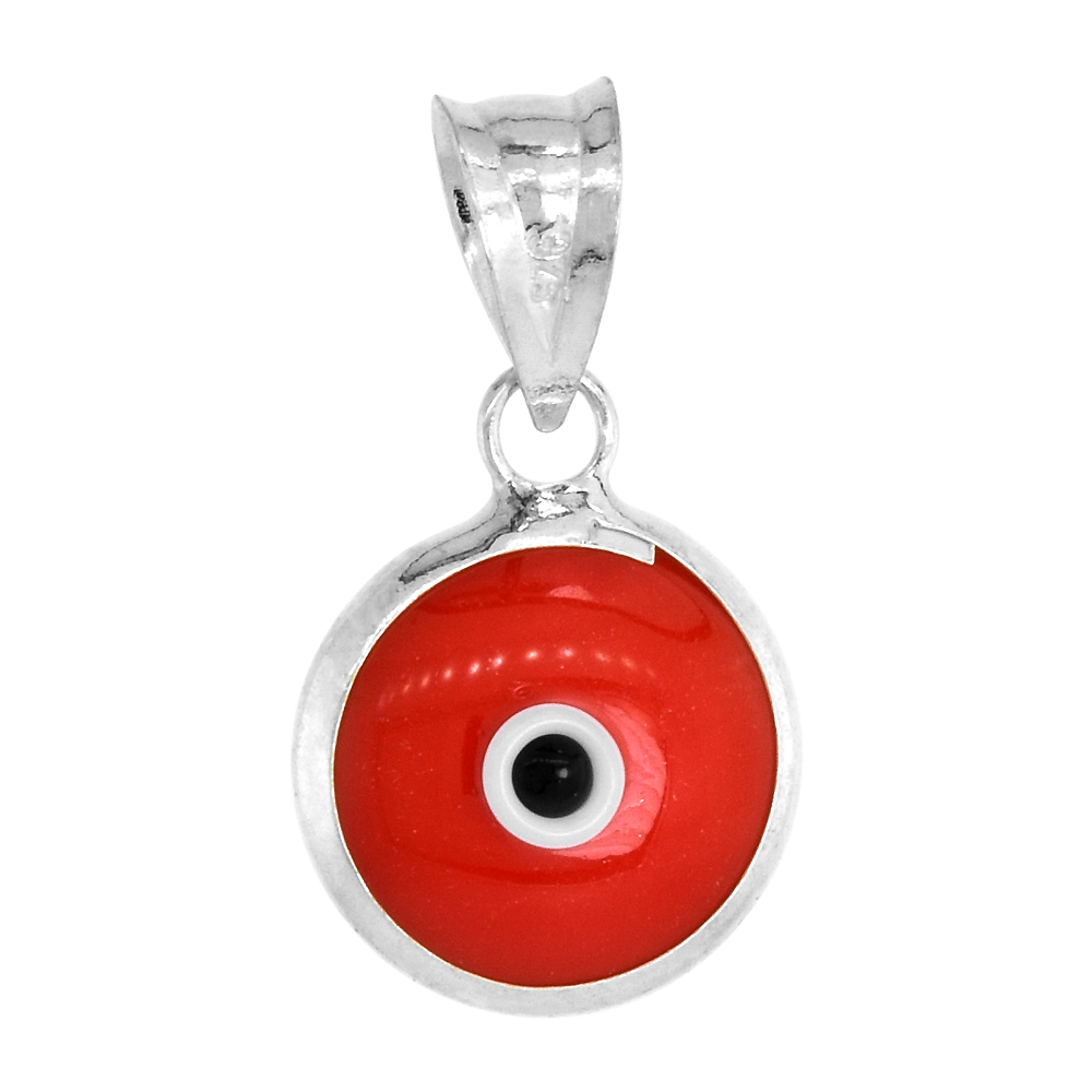 Sterling Silver Evil Eye Pendant Red Color