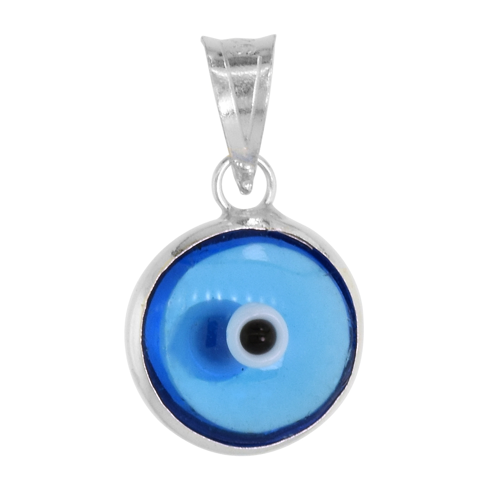 Sterling Silver Evil Eye Pendant Light Clear Blue Color, 3/8 inch wide