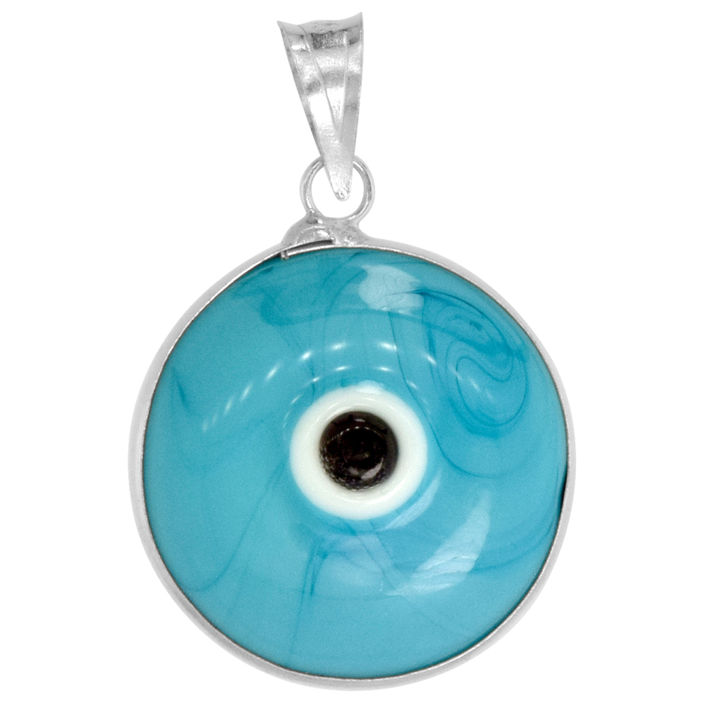 Sterling Silver Evil Eye Pendant Blue-Purple Color, 5/8 inch wide
