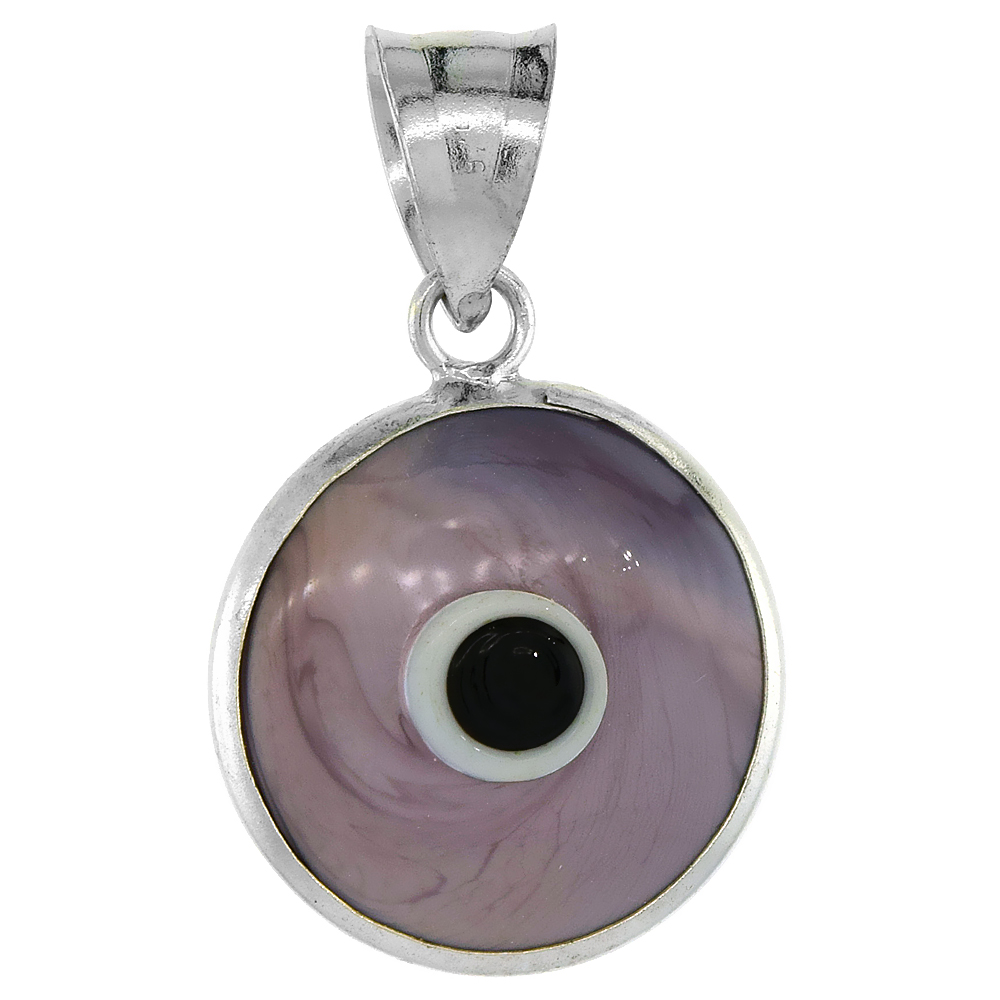 Sterling Silver Evil Eye Pendant Light Purple Color, 5/8 inch wide