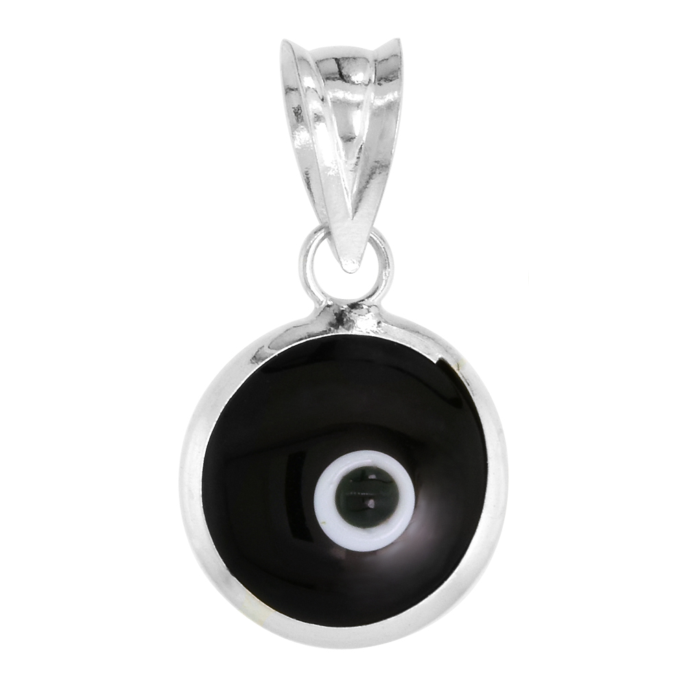Sterling Silver Evil Eye Pendant Black Color, 5/8 inch wide