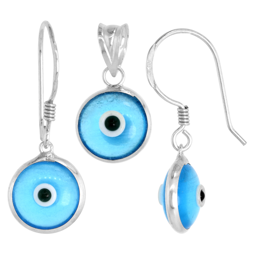 Sterling Silver Evil Eye Pendant & Earrings Set Clear Sky Blue Color