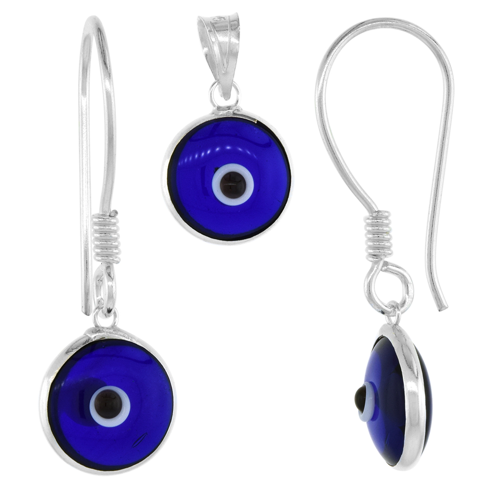 Sterling Silver Evil Eye Pendant & Earrings Set 10 MM Glass Eyes Available in All Colors