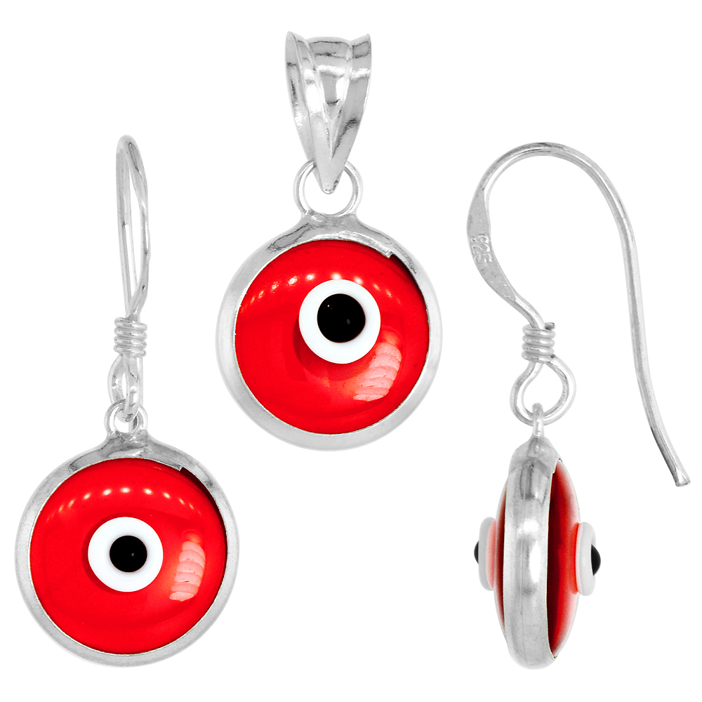 Sterling Silver Evil Eye Pendant & Earrings Set Clear Light Gray Color