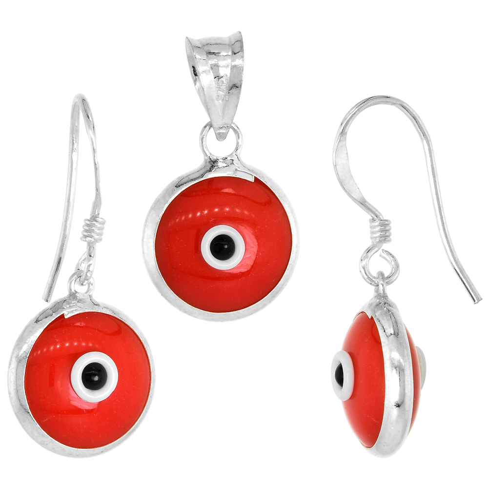 Sterling Silver Evil Eye Pendant & Earrings Set Light Pink Color