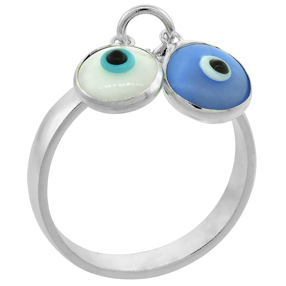 Sterling Silver Evil Eye Ring White & Blue Color, sizes 6 to 9