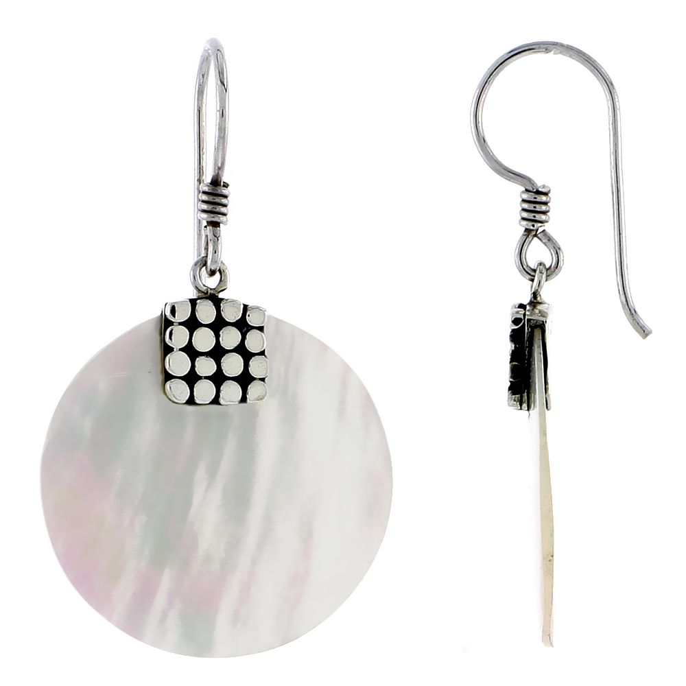 Sterling Silver Round Natural Mother of Pearl Earrings 7/8 inches long