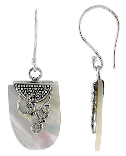 Sterling Silver Oval Natural Mother of Pearl Earrings 13/16 inches long