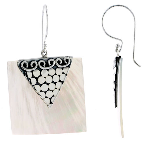Sterling Silver Square Natural Mother of Pearl Earrings 1 1/16 inches long