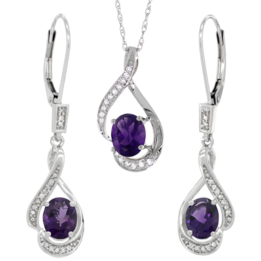 14K White Gold Natural Amethyst Lever Back Earrings & Pendant Set Diamond Accent