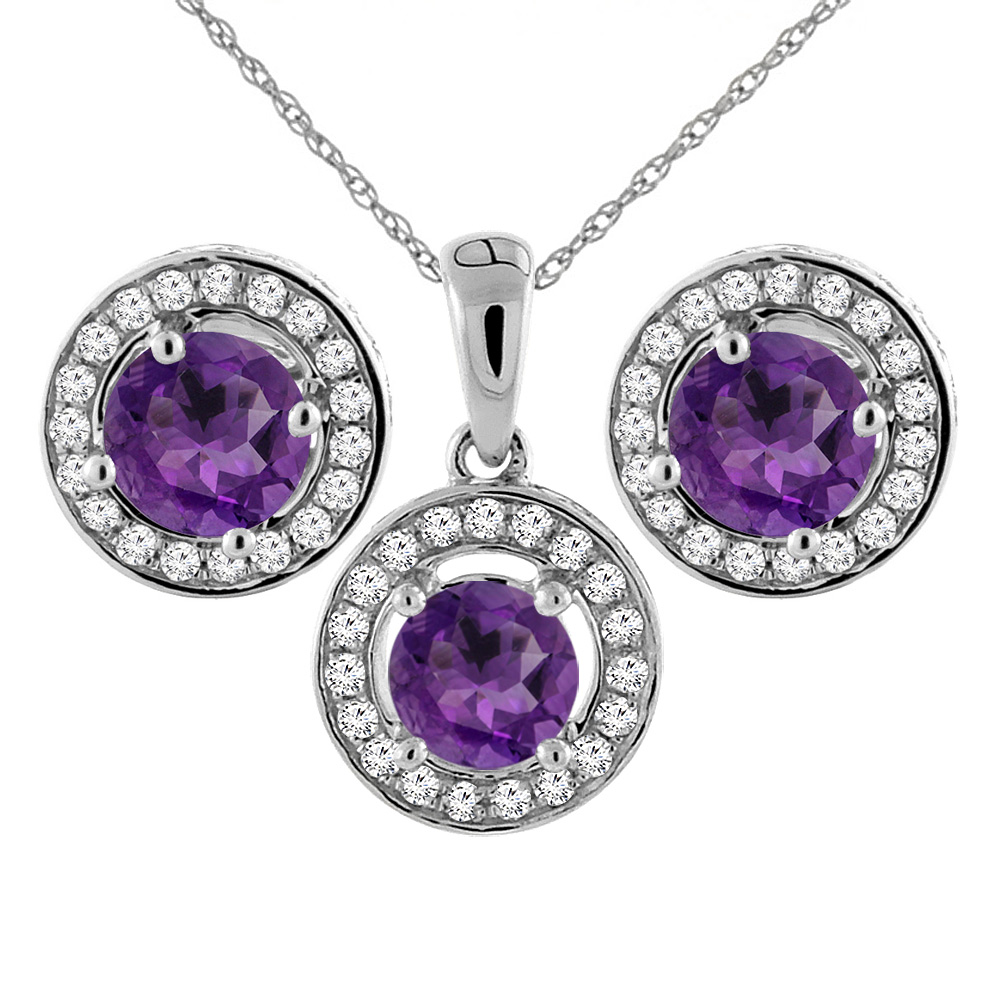 14k white gold diamond jewelry jewelry sets earrings pendant 14k white gold natural amethyst earrings and pendant set with diamond halo round 5 mm mozeypictures Image collections