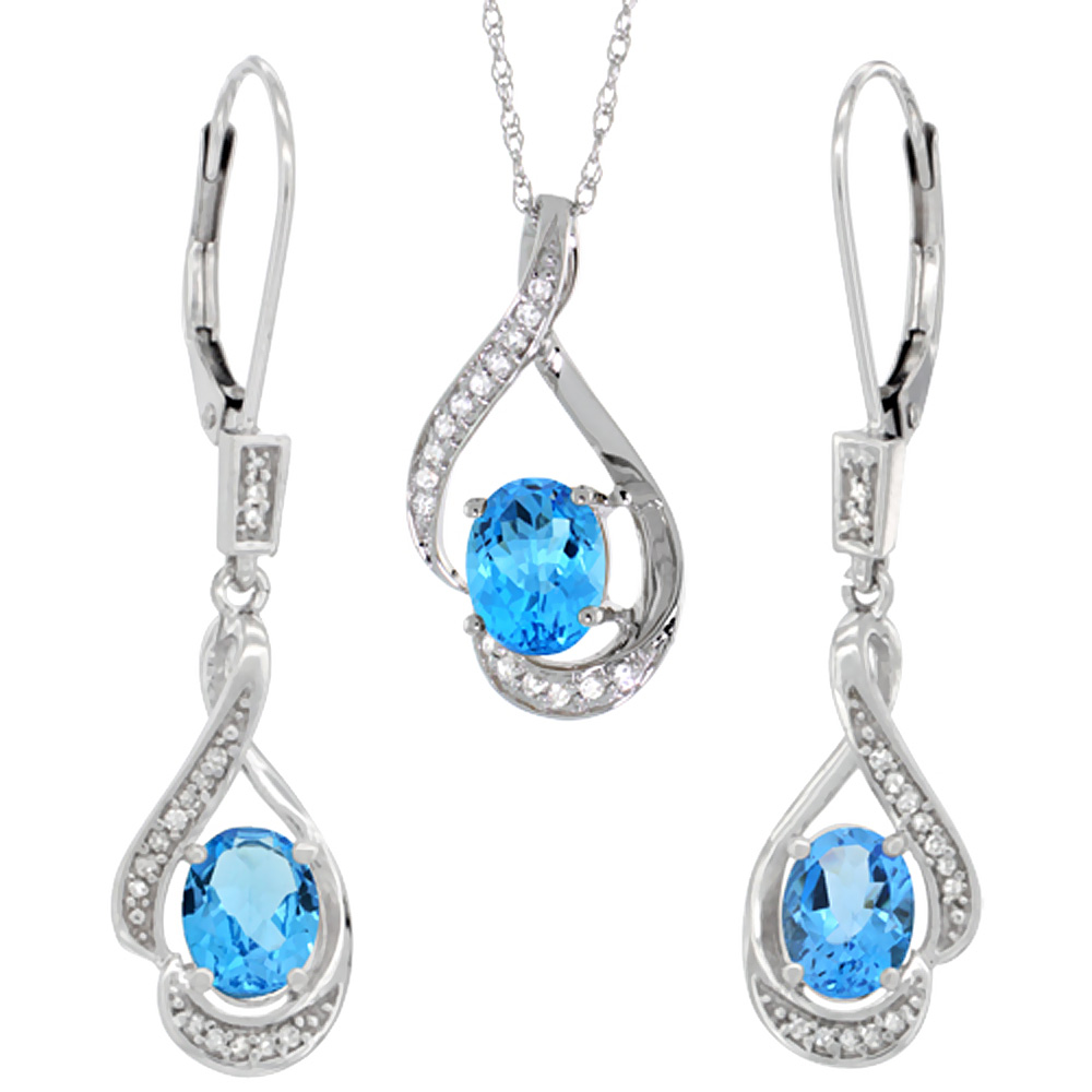 14K White Gold Natural Swiss Blue Topaz Lever Back Earrings & Pendant Set Diamond Accent