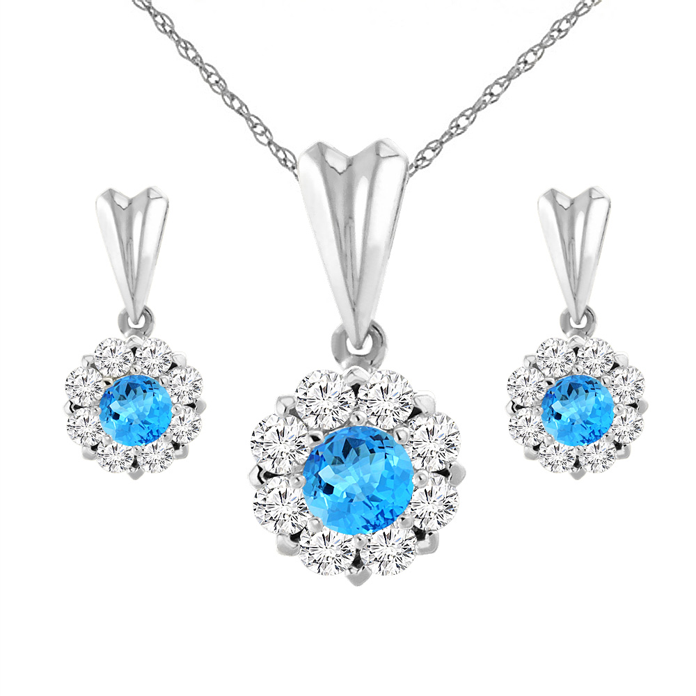 14K White Gold Natural Swiss Blue Topaz Earrings and Pendant Set with Diamond Halo Round 4 mm