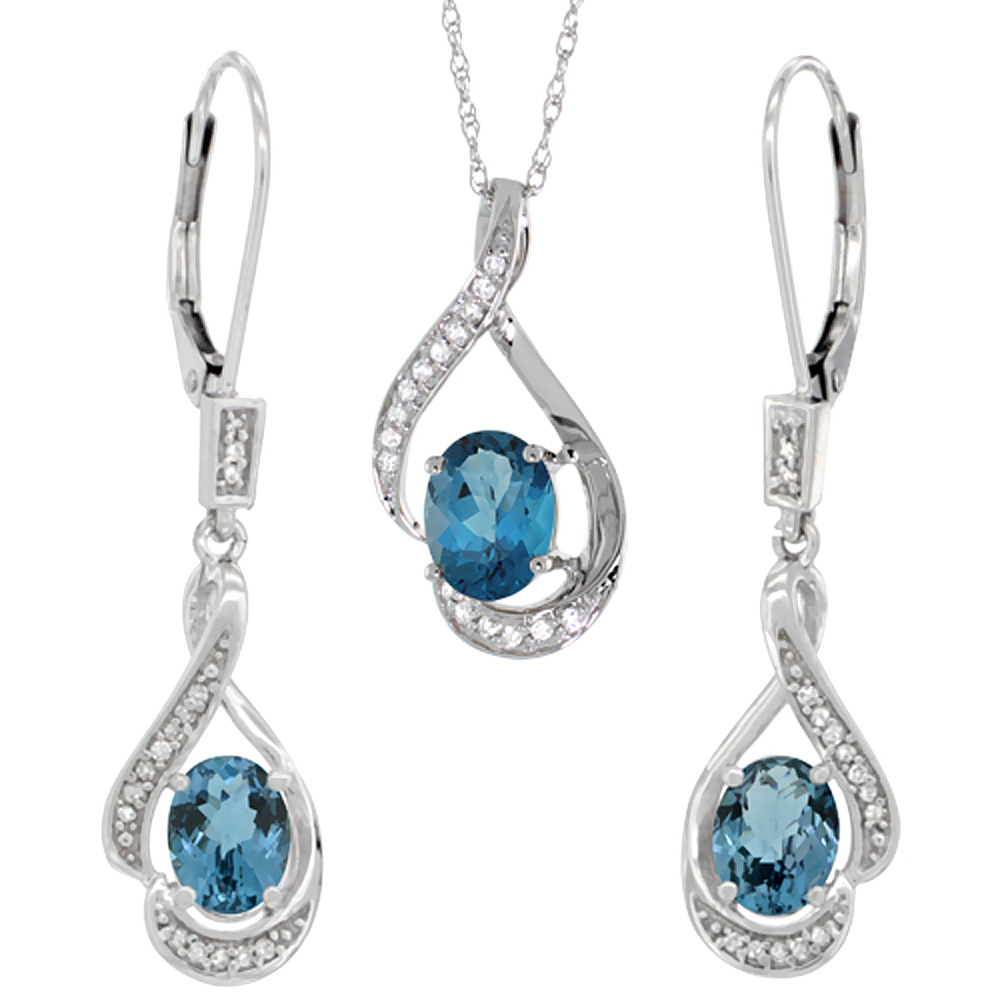 14K White Gold Natural London Blue Topaz Lever Back Earrings & Pendant Set Diamond Accent