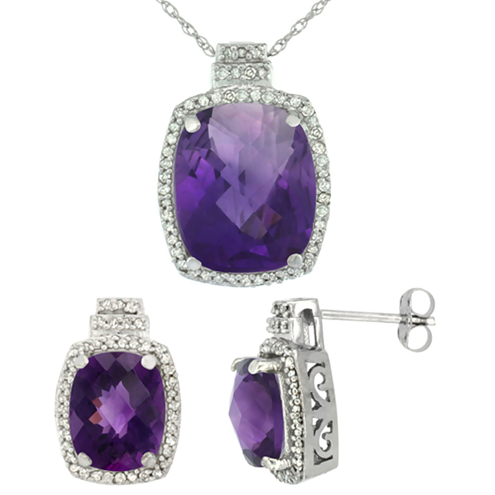 10K White Gold Diamond Natural Amethyst Earrings & Pendant Set Octagon Cushion
