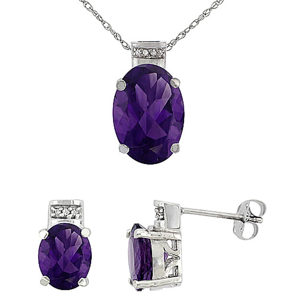 10K White Gold Diamond Natural Oval Amethyst Earrings & Pendant Set