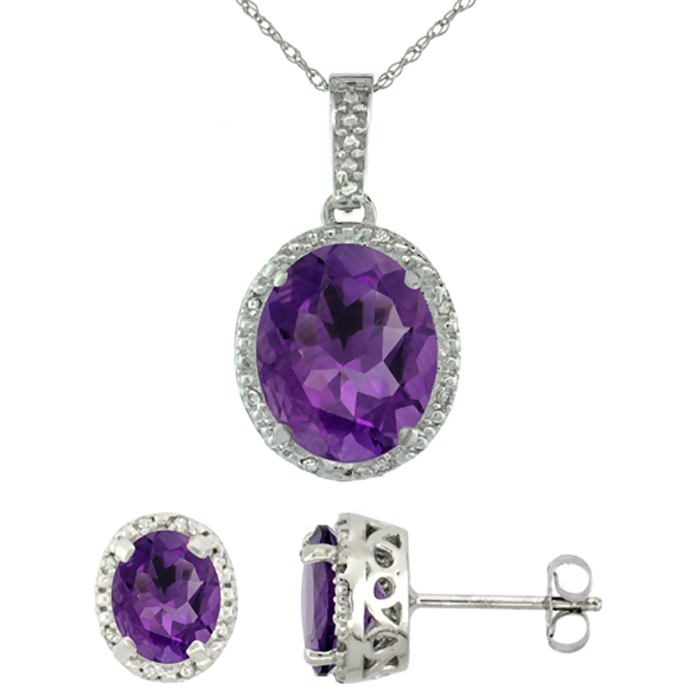 10K White Gold Diamond Halo Natural Amethyst Earrings Necklace Set Oval 7x5mm & 12x10mm, 18 inch