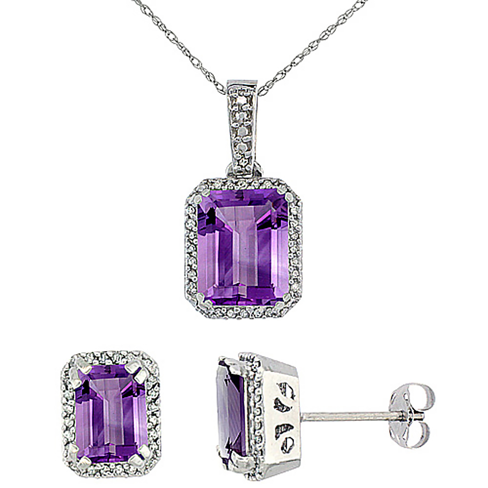 10K White Gold Diamond Natural Octagon Amethyst Earrings & Pendant Set