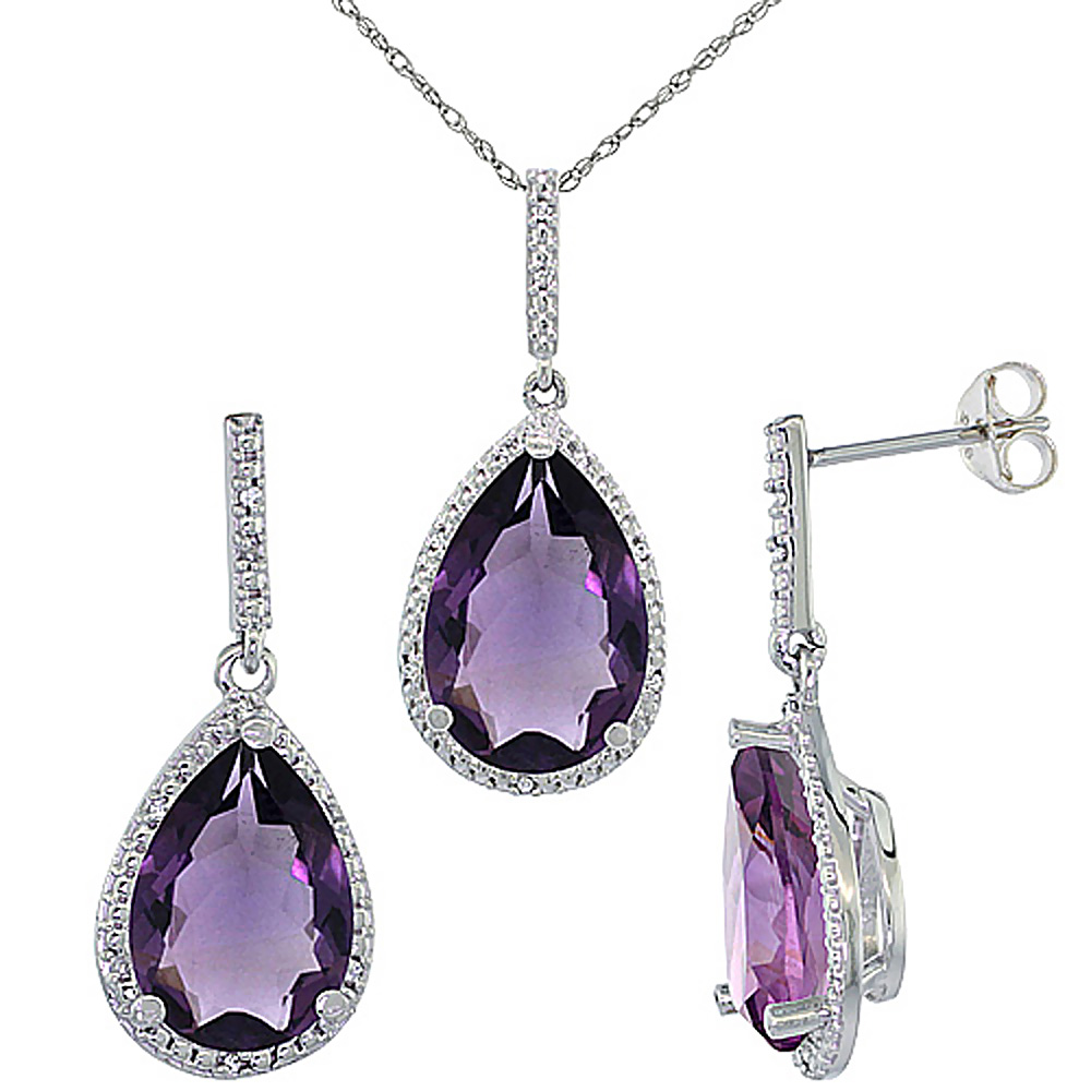 10K White Gold Diamond Natural Amethyst Earrings Necklace Set Pear Shaped 12x8mm & 15x10mm, 18 inch long