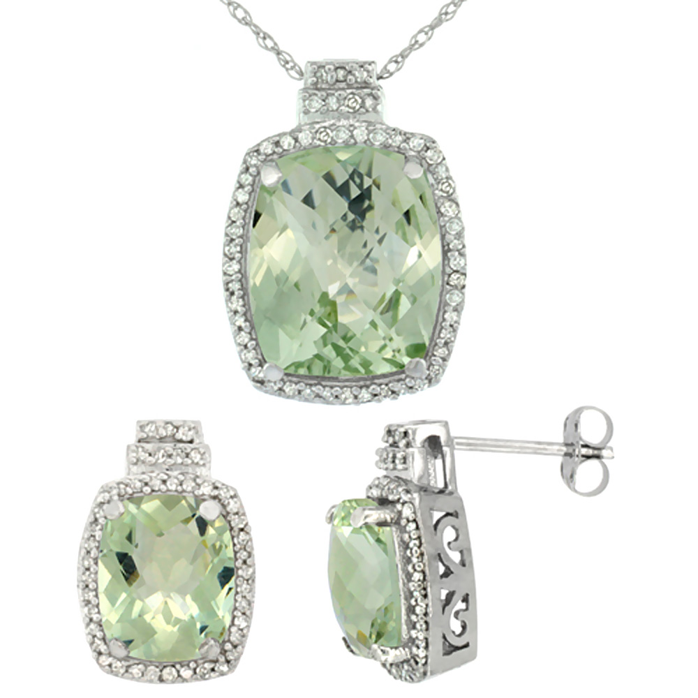 10K White Gold Diamond Natural Green Amethyst 8x6mm Earring & 11x9mm Pendant Set Octagon Cushion