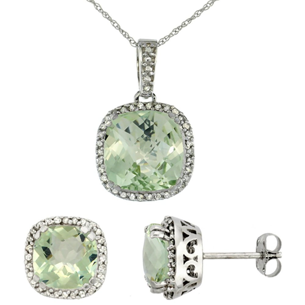 10K White Gold Natural Cushion Green Amethyst Earrings & Pendant Set Diamond Accents