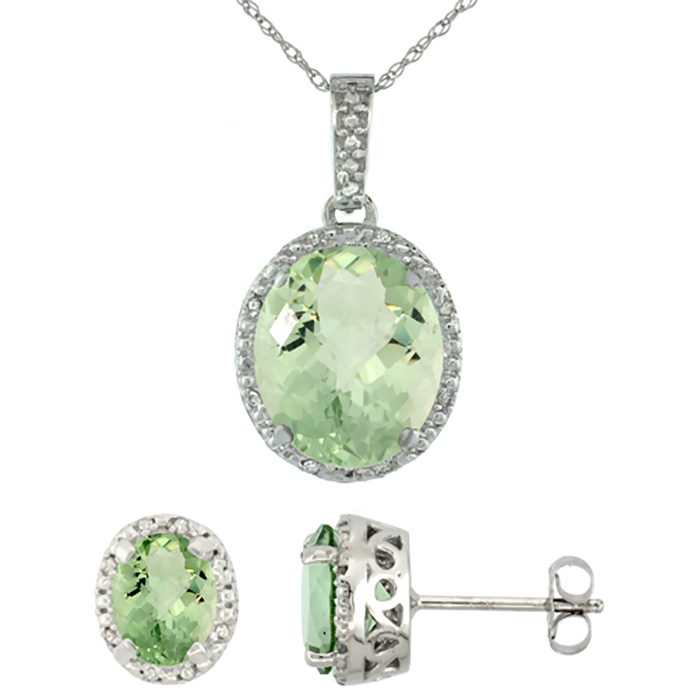 10K White Gold Diamond Halo Natural Green Amethyst Earrings Necklace Set Oval 7x5mm & 12x10mm, 18 inch