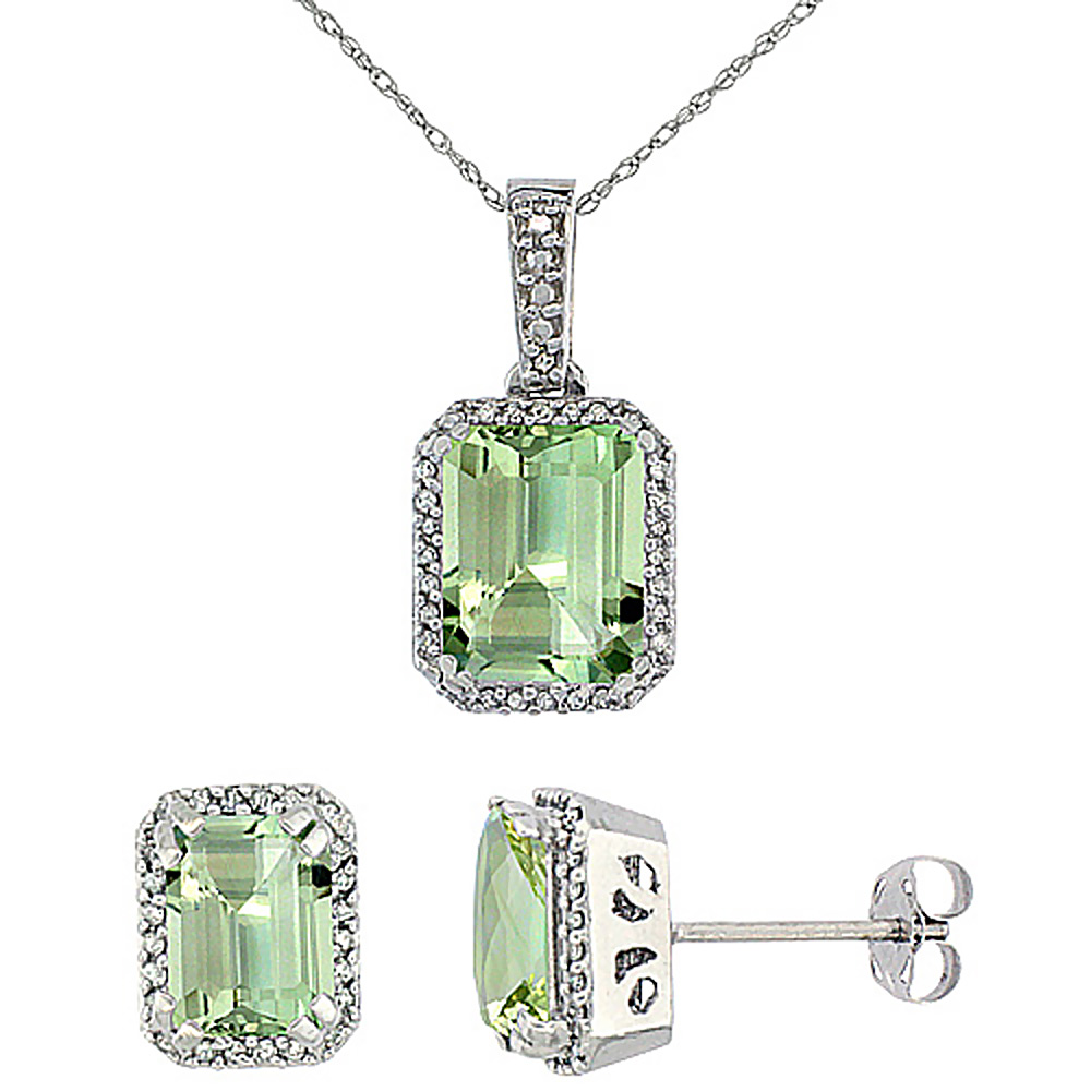 10K White Gold Diamond Natural Octagon Green Amethyst Earrings & Pendant Set