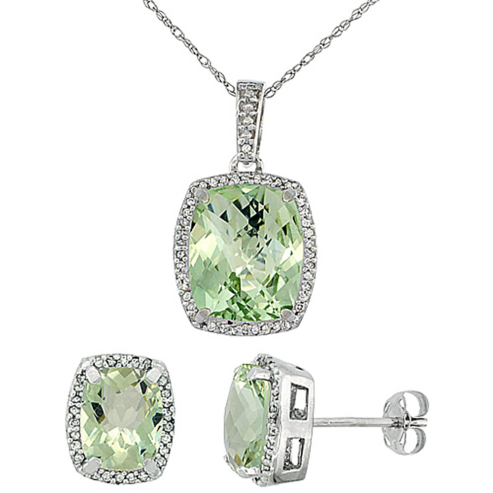 10K White Gold Natural Green Amethyst Octagon Cushion Earrings & Pendant Set