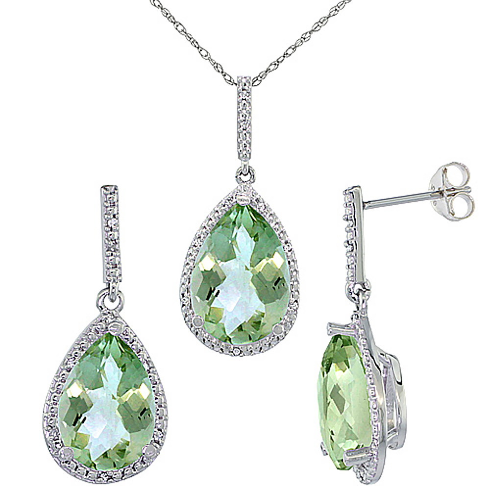 10K White Gold Diamond Natural Green Amethyst Earrings Necklace Set Pear Shaped 12x8mm & 15x10mm, 18 inch