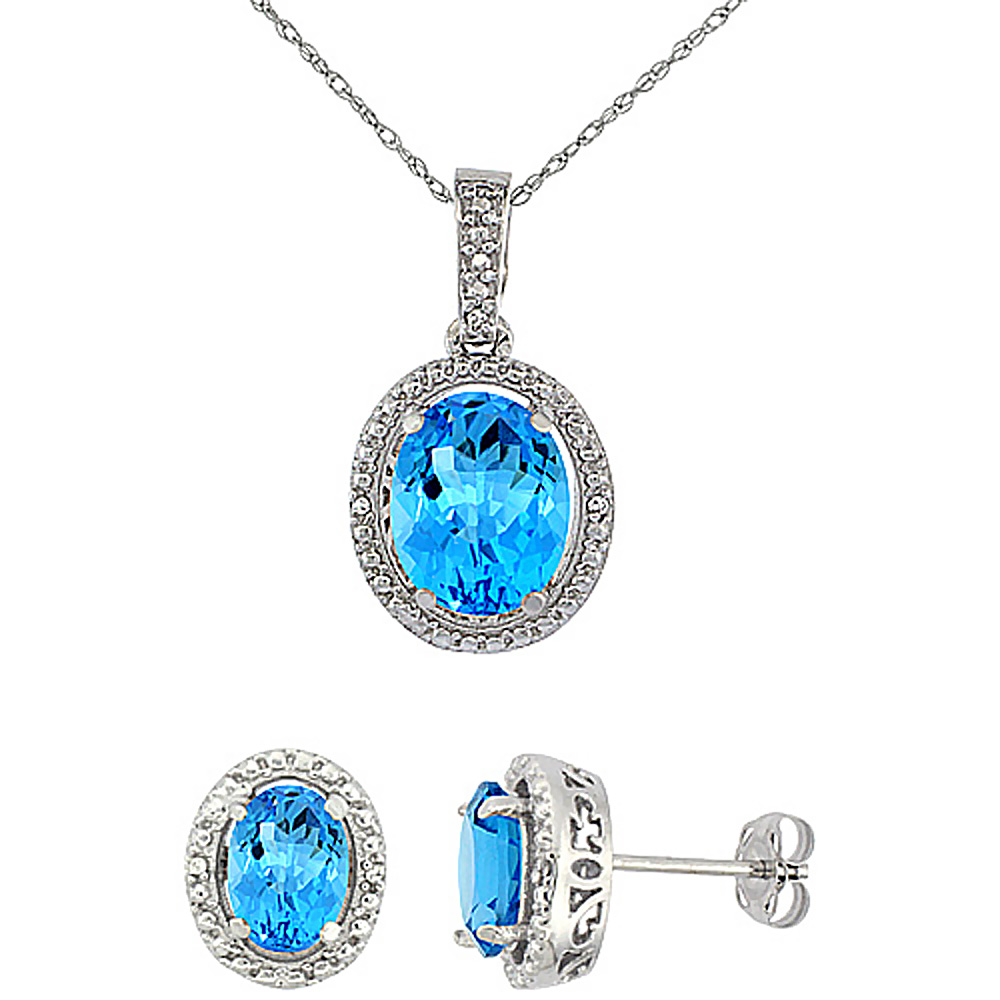 10K White Gold Diamond Natural Swiss Blue Topaz Oval Earrings & Pendant Set