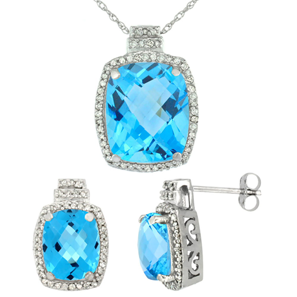 10K White Gold Diamond Natural Swiss Blue Topaz 8x6mm Earring & 11x9mm Pendant Set Octagon Cushion